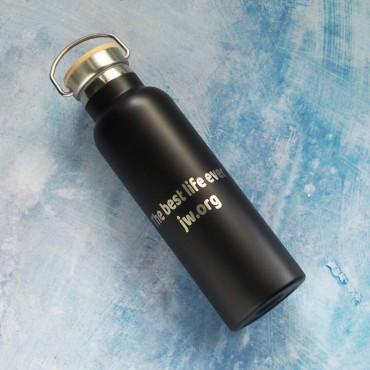 Černá termoska na pití horkého i studeného nápoje s potiskem textu na přání