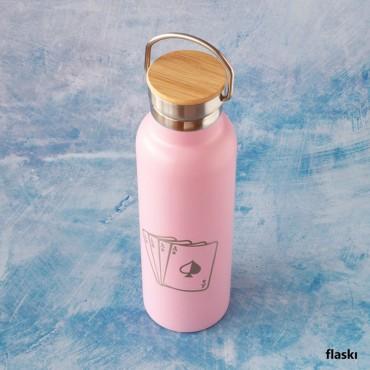 Růžová termoska na horký i studený nápoj s gravírováním vlastní grafiky na míru