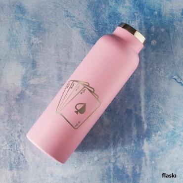 Růžová láhev s potiskem na míru dle online vytvořeného návrhu přímo na eshopu