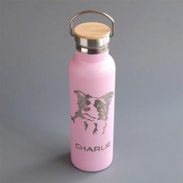 Nerez termoska 600 ml v růžové variantě s potiskem psího mazlíčka plemene Borderkolie