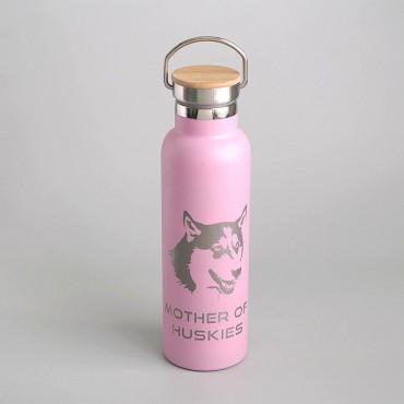 Nerezová růžová termoska 600 ml s potiskem psího mazlíčka plemene Husky