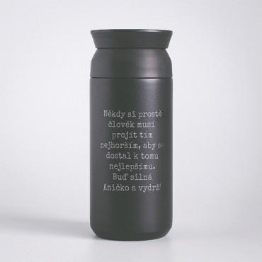 Termohrnek s potiskem Travel Tumbler černý 350 ml
