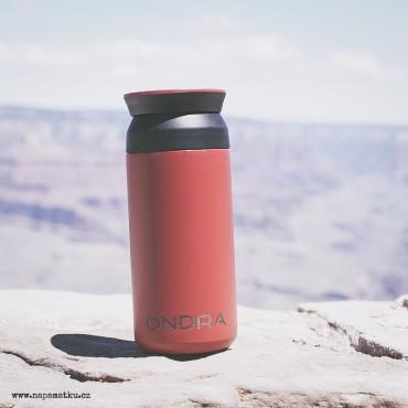 Červený nerezový termohrnek na kávu 350 ml s potiskem Vašeho návrhu online na eshopu www.flaski.cz