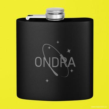 Nerezová černá butylka na alkohol s potiskem (gravírováním) Vašeho designu