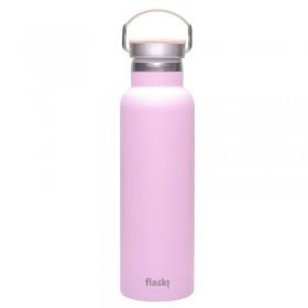 Termoska na pití s textem vylaserovaným do růžového povrchu láhve.