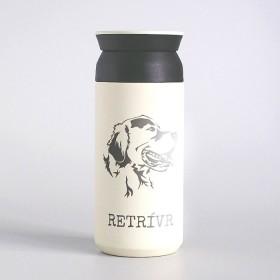 Cestovní nerezový termohrnek na kávu s laserováním jména a obrázku psa plemene Retrívr