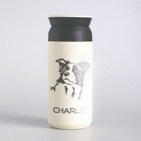 Bílý nerezový termo hrnek na kafe s laserováním jména a obrázku mazlíčka plemene border kolie