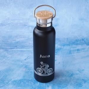 Černá nerezová termoska s potiskem a gravírováním je originálním dárkem pro kamaráda cyklistu